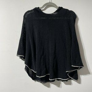 Wooden Ships Black Knit Hooded Poncho Sweater Size Small/Medium Cotton Blend